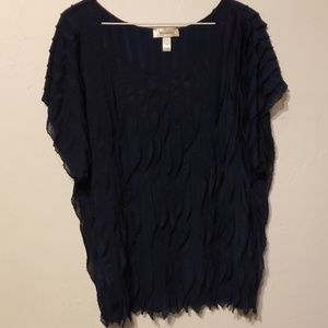 Navy blue women's ruffles blouse